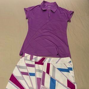 Adidas golf shirt and skirt